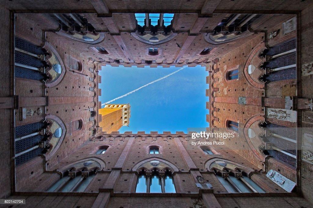 The Mangia Tower (Torre del Mangia), Siena, Tuscany, Italy : Stock Photo