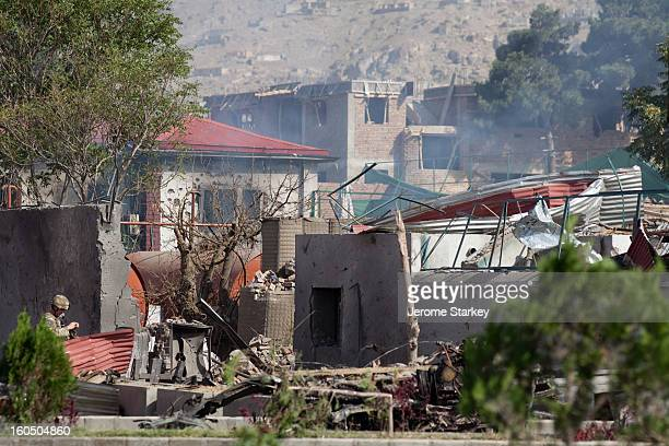 The mangled remains of the British Council compound in Kabul, after a Taleban suicide squad overran the perimeter, triggering a day-long battle with...