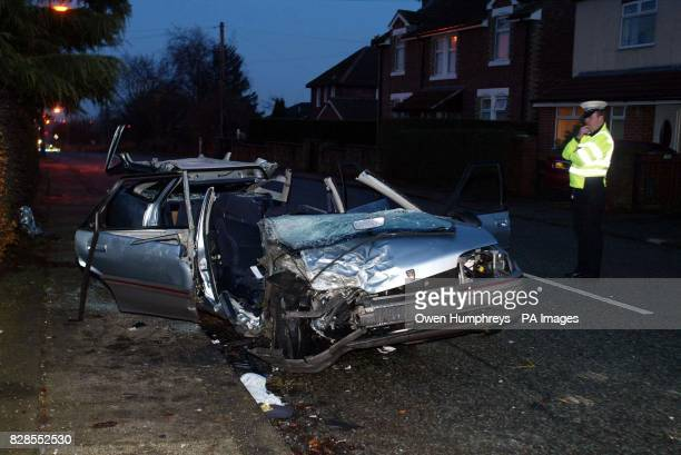 The mangled wreck of a Rover car in Nedderton Northumberland after an accident in which the driver was killed despite the afforts of emergency...