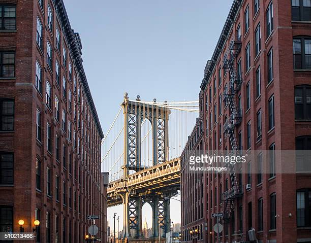 the manhattan bridge seen from brooklyn new york - dumbo stock photos and pictures