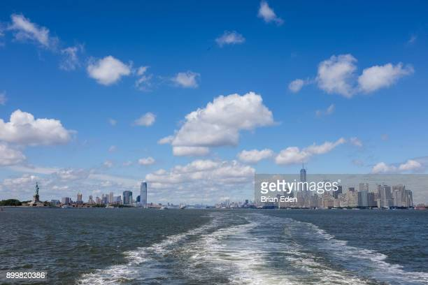 The Manhattan skyline as seen from a boat
