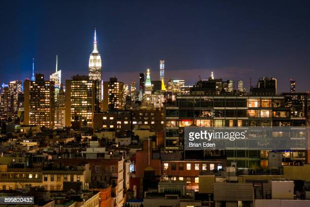 The Manhattan Skyline at night, seen from SoHo
