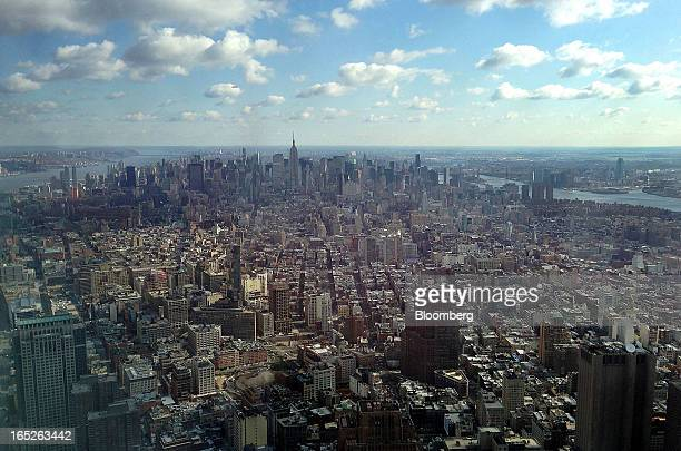 The Manhattan skyline is seen from the One World Trade Center observation deck in New York US on Tuesday April 2 2013 The observation deck at One...
