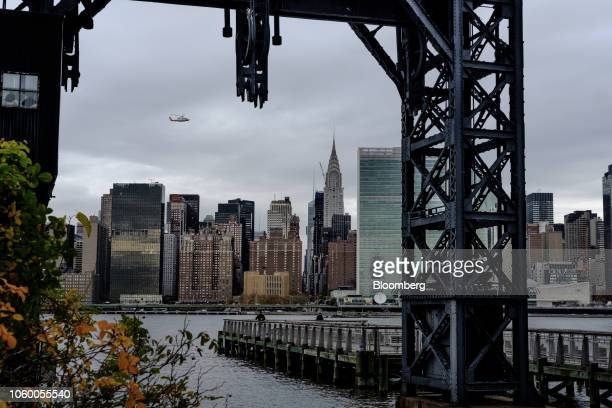 The Manhattan skyline stands across from Gantry Plaza State Park in the Long Island City neighborhood in the Queens borough of New York US on Friday...