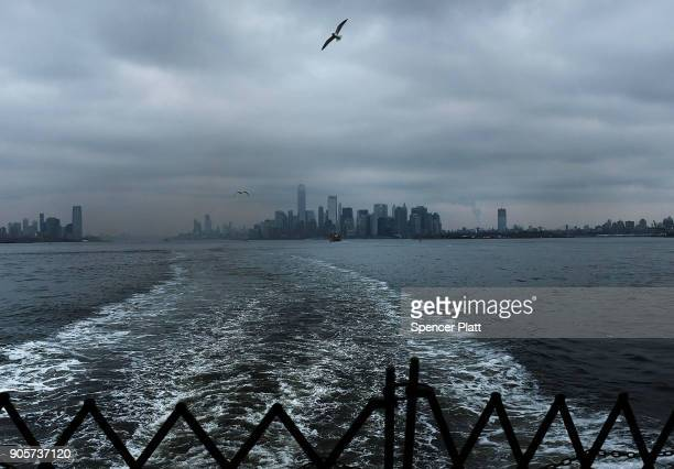 The Manhattan skyline stands in lower Manhattan on January 16 2018 in New York City New York Governor Andrew Cuomo has written a letter to Interior...