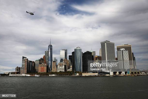 The Manhattan skyline towers over New York harbor on October 16 2017 in New York City The US Department of Justice has claimed that New York City is...