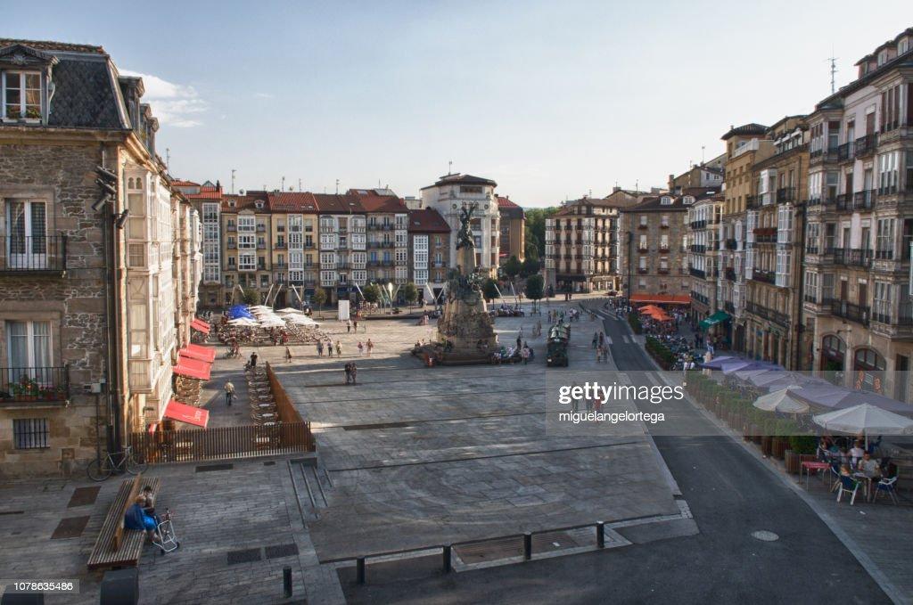 The manin square at Vitoria, the capital of Alava : Stock Photo