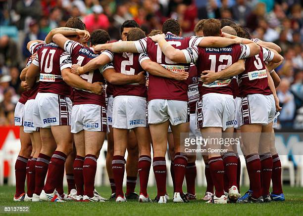 The Manly Warringah Sea Eagles perform a team huddle before the NRL Grand Final match between the Manly Warringah Sea Eagles and the Melbourne Storm...