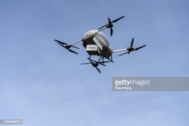 The Manna Aero MNA-1090 drone delivers a parcel of food during a flight demonstration in Dublin, Ireland, on Thursday, Jan. 30, 2020. Manna.aero is...