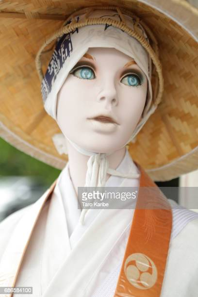 The mannequin doll wears pilglimage clothes at the goods shop of Temple NO1 'Ryozanji' where pilgrims buy their goods on April 26 2017 in Naruto...