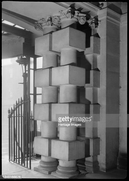 The Mansion House and attached railings, High Street, Doncaster, 1942. A detailed view of a pair of rusticated piers in the porch of the Mansion...