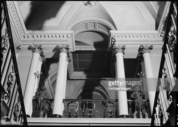 The Mansion House , High Street, Doncaster, 1942. An interior view of the entrance hall in Mansion House, looking up the staircase. The mayoral...