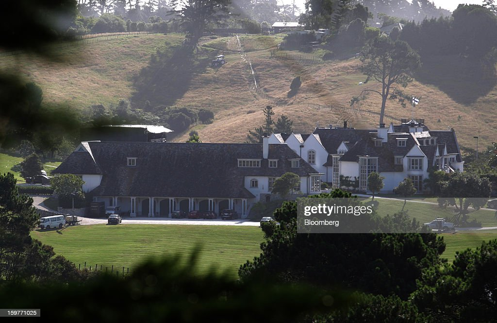 The mansion owned by Kim Dotcom, founder of Megaupload.com, stands in Coatesville, near Auckland, New Zealand, on Sunday, Jan. 20, 2013. Dotcom, marking one year since his Megaupload.com website was shut down by the U.S. Department of Justice and his home raided by New Zealand tactical squad officers in helicopters, unveiled his new website Mega, a successor file-storage and sharing site, saying innovation won't be stopped. Photographer: Brendon O'Hagan/Bloomberg via Getty Images
