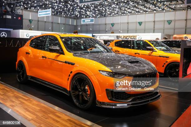 The Mansory Maserati Levante on display during the second press day of the Geneva Motor Show 2017 at the Geneva Palexpo on March 8 2017 in Geneva...
