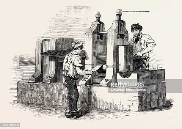 The Manufacture Of Steel Pens In Birmingham UK Rolling The Steel For Pens 1851 Engraving