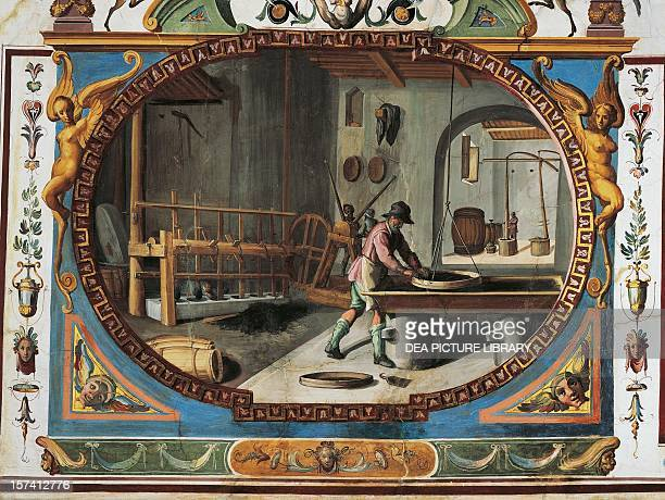 The manufacturing of gunpowder and grotesque paintings in tempera with gold touches by Ludovico Buti Vault of Room 23 Armory Uffizi Palace Florence...