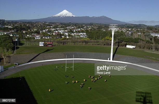 The Maori All Black team train with the spectacular backdrop of Mt Taranaki at Rugby Park New Plymouth for their Saturday night game against the...
