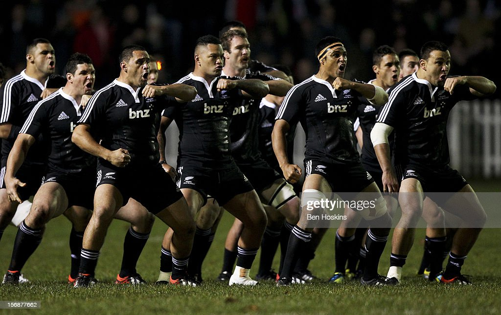 The Maori perform a traditional haka prior to a tour match between Canada and Maori All Blacks at Oxford University Rugby Club on November 23, 2012 in Oxford, England.