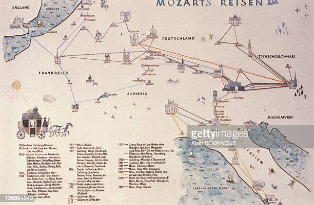 The map above traces Mozart's famous travels in Salzbourg Austria on December 01 1990