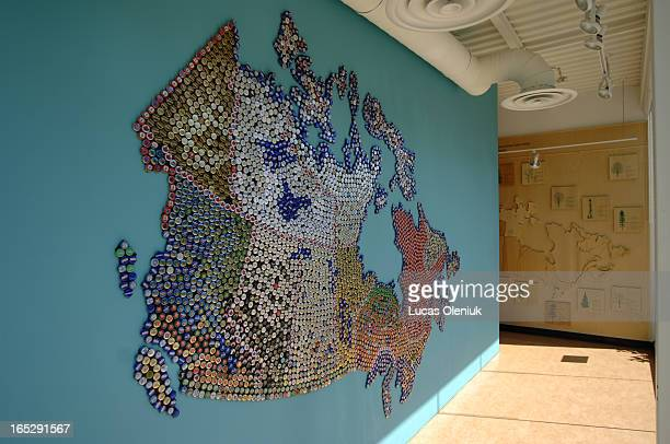 The map of Canada at the Harbourfront tourism office made entirely of beer bottle caps