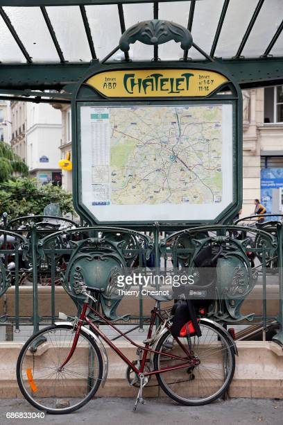 The map of the Paris subway lines is seen at the 'Chatelet' station on May 22 2017 in Paris France The first metro line was inaugurated on July 19...