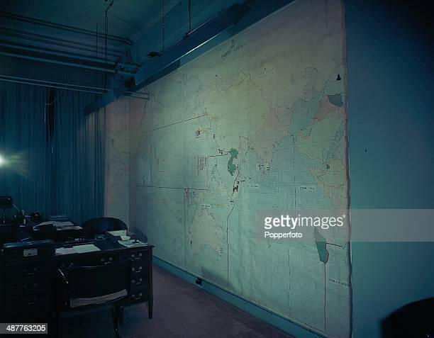The Map Room at the British Cabinet War Rooms at Storey's Gate, now the Churchill War Rooms, London, England, September 1945.