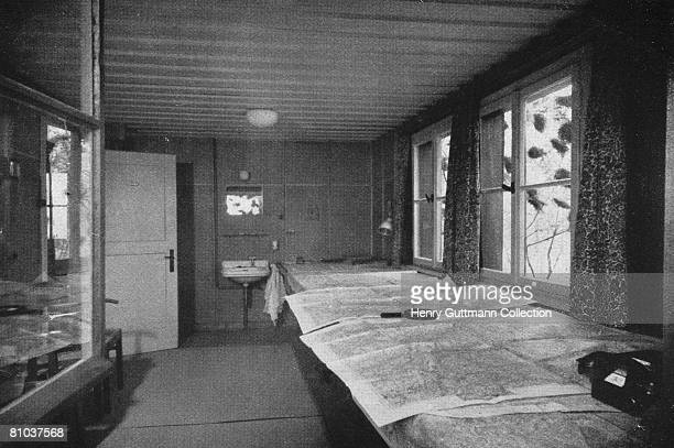 The map room at the Felsennest the Fuhrer Headquarters near Bad Munstereifel Germany circa 1940 It was used by Nazi Leader Adolf Hitler during the...