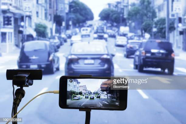 The Mapbox Inc Vision software development kit is demonstrated on a smartphone at the SoftBank World 2018 event in Tokyo Japan on Thursday July 19...