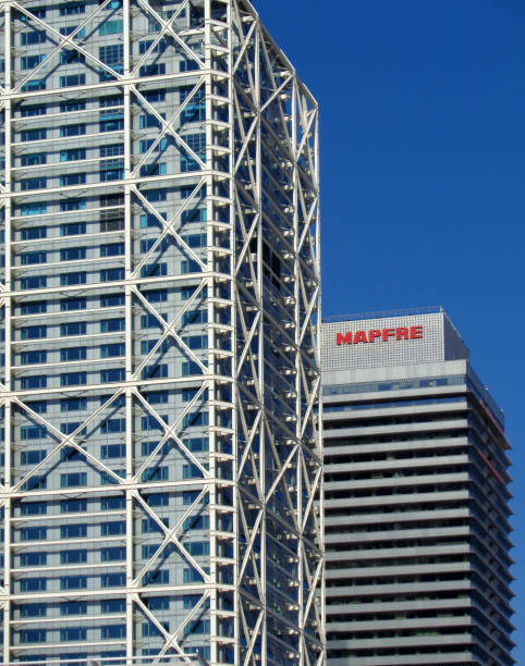 The Mapfre Tower and the Hotel Arts tower in the Port Olimpic of Barcelona, Catalonia, Spain