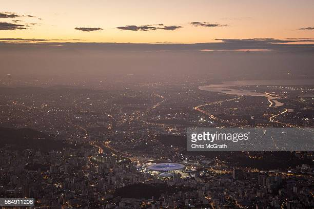 The Maracana Stadium is seen lit up ahead of the 2016 Summer Olympic Games on July 31 2016 in Rio de Janeiro Brazil