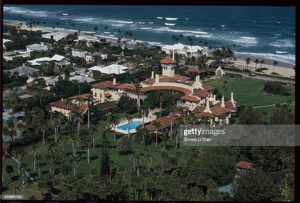 The Mar-a-Lago Estate, owned by Donald Trump, lies at the water's edge in Palm Beach, Florida. The mansion was built by Marjorie Merriweather Post in the 1920s.