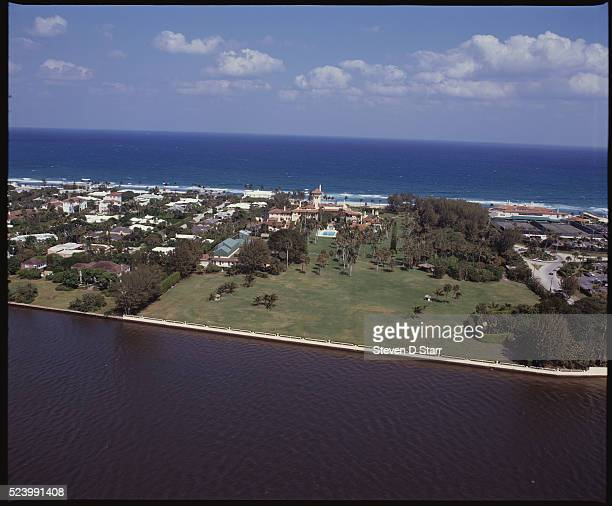 The MaraLago Estate owned by Donald Trump lies at the water's edge in Palm Beach Florida The mansion was built by Marjorie Merriweather Post in the...