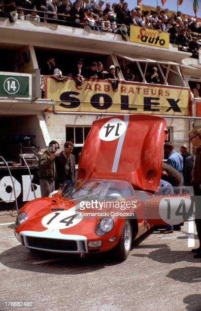 The Maranello Concessionaires Ferrari 330P of Graham Hill and Jo Bonnier in the pits before the start of the World Sportscar Championship 24 Hours of...