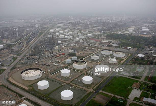 The Marathon oil refinery is shown after Hurricane Ike made landfall September 13 2008 in Texas City Texas Ike caused extensive damage along the...