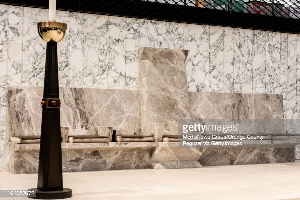 The marble Bishop's chair, center, at Christ Cathedral in Garden Grove on Monday, July 8, 2019. The official The dedication of Christ Cathedral will...