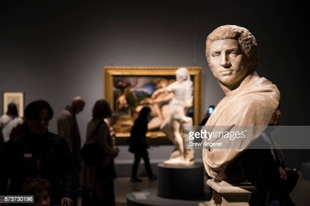 The marble Bust of Brutus is displayed at the new Michelangelo exhibit titled 'Michelangelo Divine Draftsman and Designer' at the Metropolitan Museum...