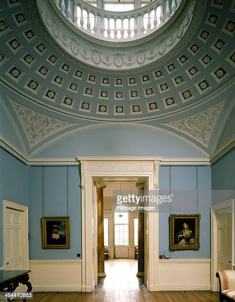 The Marble Hall Kenwood House Hampstead London 1989 Room with circular ceiling and balcony above The ornate moulding is decorated in blue and white...