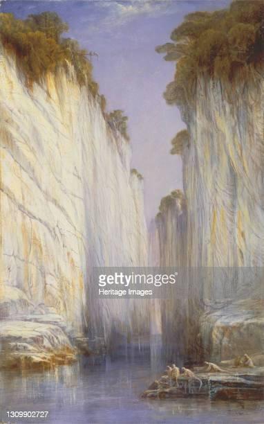 The Marble Rocks - Nerbudda Jubbolpore, 1882. Jabalpur, Indian state of Madhya Pradesh. Artist Edward Lear. .