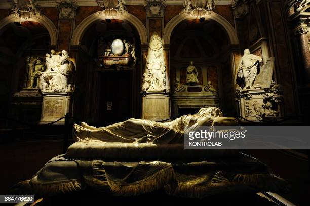 The marble sculpture Veiled Christ into San Severo chapel, in center storic Naples in Campania region, southern Italy.
