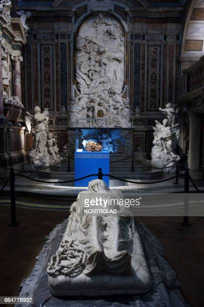 The marble sculpture Veiled Christ into San Severo chapel in center storic Naples in Campania region southern Italy
