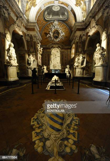The marble sculptures into San Severo chapel in center historic Naples in Campania region southern Italy