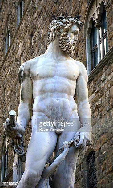 The marble statue of Neptune is the centerpiece of the Fountain of Neptune sculpture created in 1565 by Italian Renaissance artist Bartolomeo...