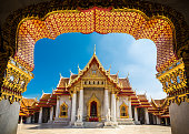 The Marble Temple in Bankgok Thailand. Locally known as Wat Benchamabophit.