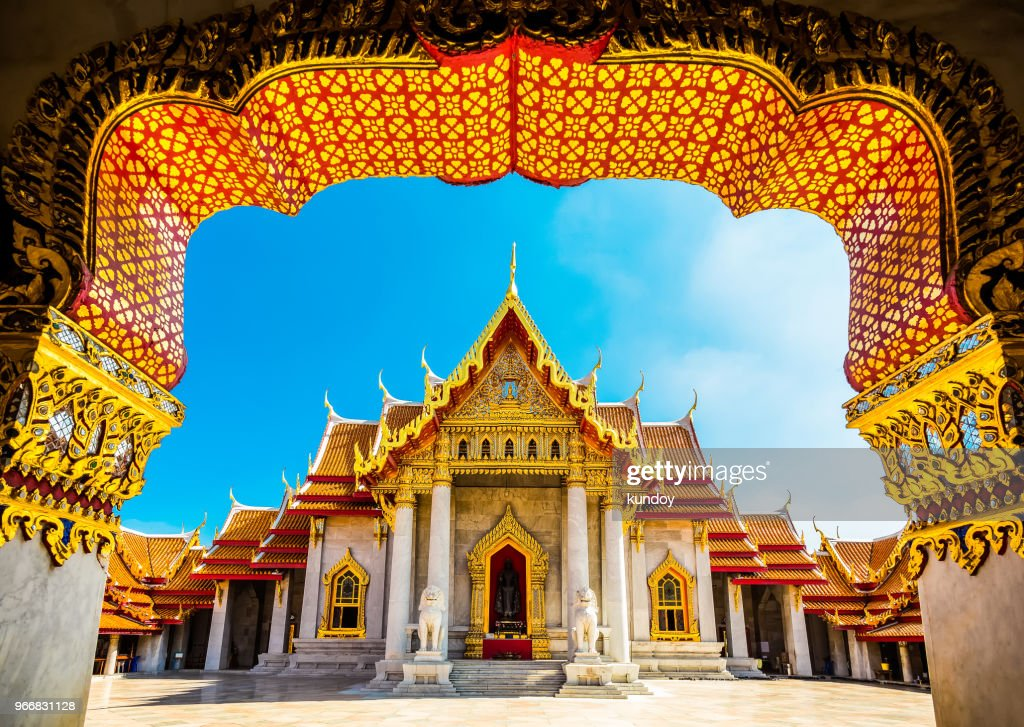 The Marble Temple in Bankgok Thailand. Locally known as Wat Benchamabophit. : Stock Photo