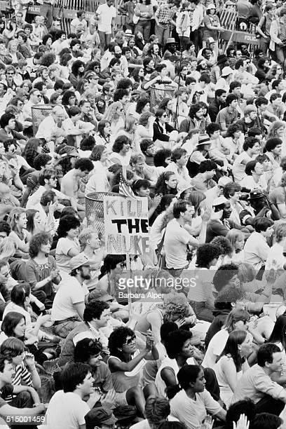The March and Rally for Peace and Disarmament an antinuclear protest in New York City 12th June 1982 Here the protest reaches Central Park One...
