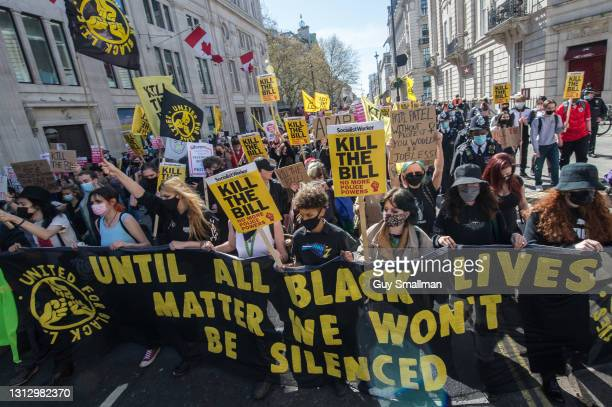 The march approaches Piccadilly Circus as over one thousand people protest against proposed new powers for the police on April 17, 2021 in London,...