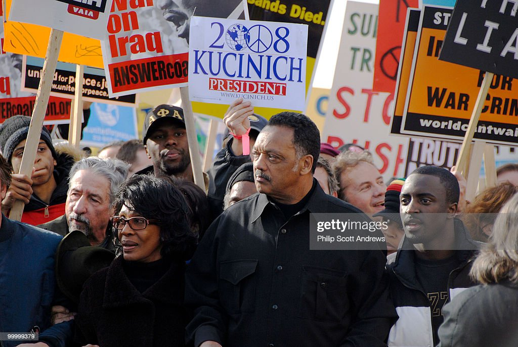The march around the capitol was lead by v.i.p. speakers including (left to right) Representative Maxine Waters, D-Ca, and the Reverend Jesse Jackson.