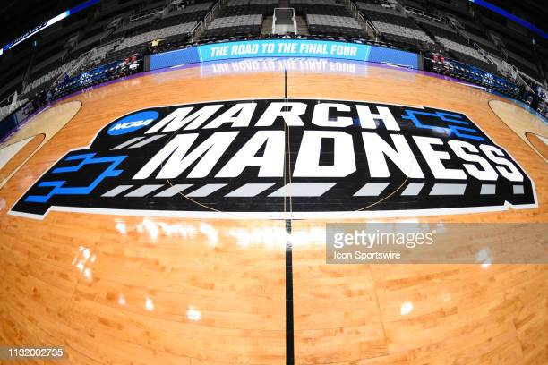 The march madness logo on the court before the game between the Kansas State Wildcats and the UC Irvine Anteaters in their NCAA Division I Men's...