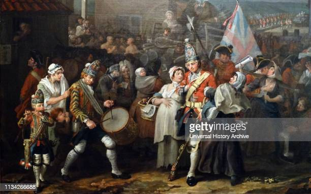 The March of the Guards to Finchley oiloncanvas painting by English artist William Hogarth The painting is a depiction of a fictional mustering of...