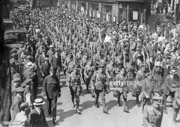 The march of the Honourable Artillery Company 20th May 1919 The cadre of the 1st Battalion the Honourable Artillery Company which has served on the...